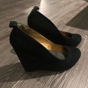 Suede Round Toe Wedges